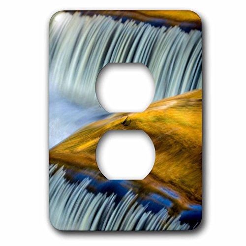 Clock Bond Metal (3dRose Danita Delimont - Waterfalls - Yellow and gold on the Ontonagon River, Bond Falls, Michigan - Light Switch Covers - 2 plug outlet cover (lsp_279084_6))
