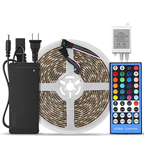 (SUPERNIGHT 16.4ft 300 Leds RGBW 5050 SMD LED Strip Light RGB+Warm White Multi-color Changing Waterproof with 40 Keys RGBW LED Remote Controller and 12V 5A Power Supply)