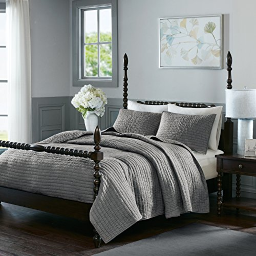 Madison Park Signature Serene King Size Quilt Bedding Set – Grey, Quilted – 3 Piece Bedding Quilt Coverlets – 100% Cotton Voile Bed Quilts Quilted Coverlet