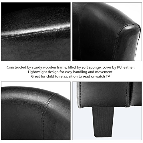 Costzon Kids Sofa Tub Chair Couch Children Living Room Toddler Furniture (PU Leather, Black) by Costzon (Image #2)'
