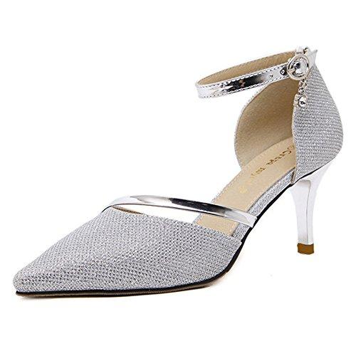 Da Cerimonia Donna A Silver Per Scarpe Cy Eleganti Pompe Punta Cinturino Nuziale Casual Caviglia Tacco Alla Spillo La Festa nXRXETU