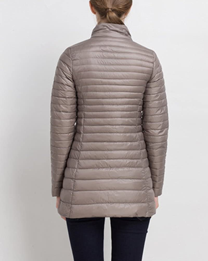 ZhuiKun Giacca da Donna - Piumino Invernale Cappotto Piumini Parka Jacket Cachi