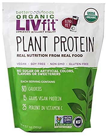 LIVfit Superfood Organic Plant Protein — Add Vegan Protein To Any Recipe, Packed Full Of Organic Superfoods, Contains 15g Of Vegan/Plant Protein, Produced by BetterBody Foods, 12.7 Ounce