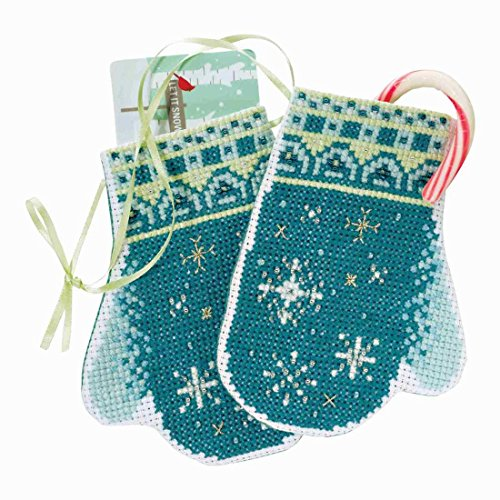 (Snowflake Mittens Beaded Counted Cross Stitch Ornament Kit Mill Hill 2018 Mittens Trilogy MH191832)