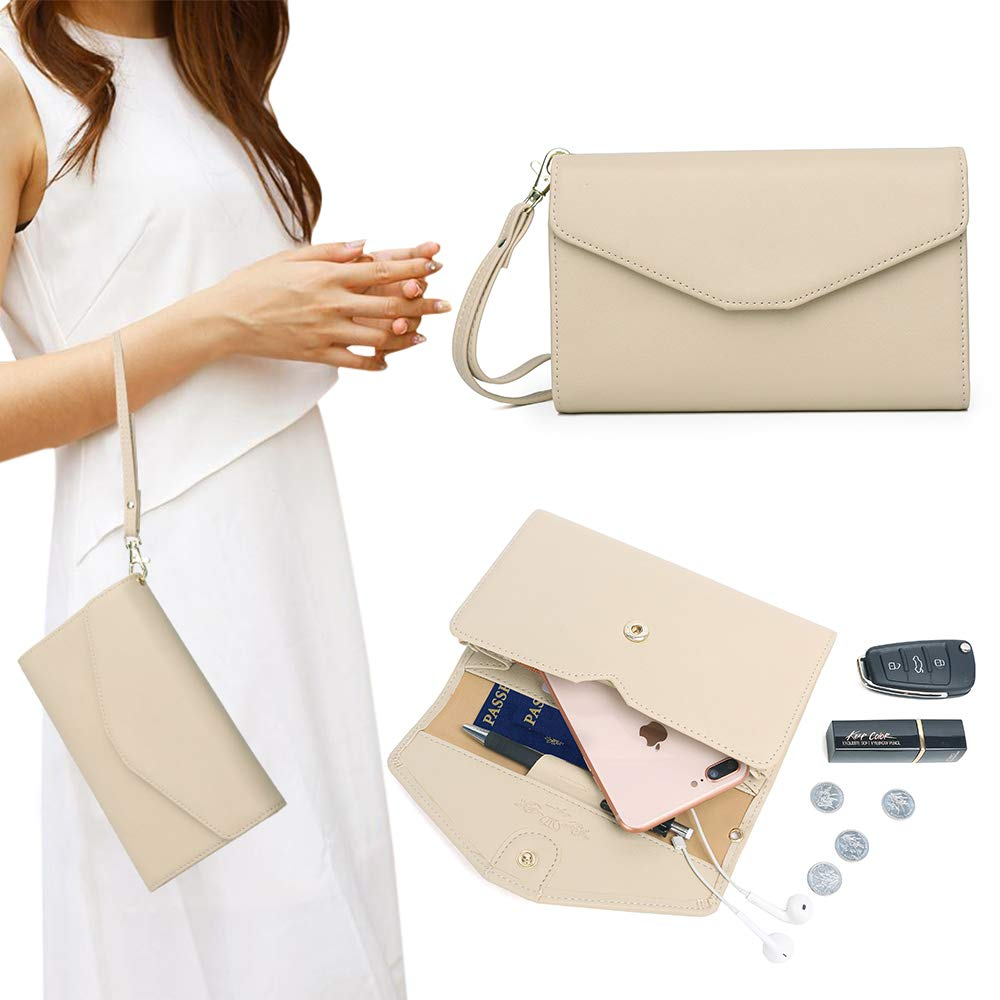 Zg Wristlets for Women, Cell Phone Clutch Wallet, Passport Wallet, All In One Purse Extra Capacity - Beige1