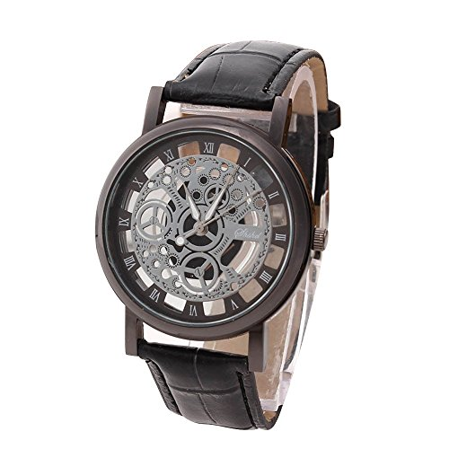 - Han Shi Luxury Watch, Men Fashion Quartz Wristwatch Military Sport Leather Band Dial Clock (Large, I)