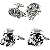 Outlander Gear Star Wars 2 Pairs Millenium Falcon & Star Destroyer Superhero 2018 Movie Logos - Wedding Groom Groomsmen Mens Boys Cufflinks
