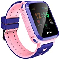 Kids Smart GPS Watch 1.44 inch Touch Smartwatch LBS Kid Tracker for Children Girls Boys Birthday Gift with Camera SIM Calls Anti-Lost SOS Compatible Phone Android (PINK)