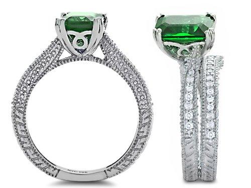 Star K Emerald Cut 8x6mm Simulated Emerald Wedding Set Size 7