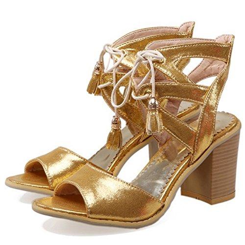 COOLCEPT Mujer Moda Cordones Sandalias Punta Abierta Tacon Ancho Slingback Zapatos Negro