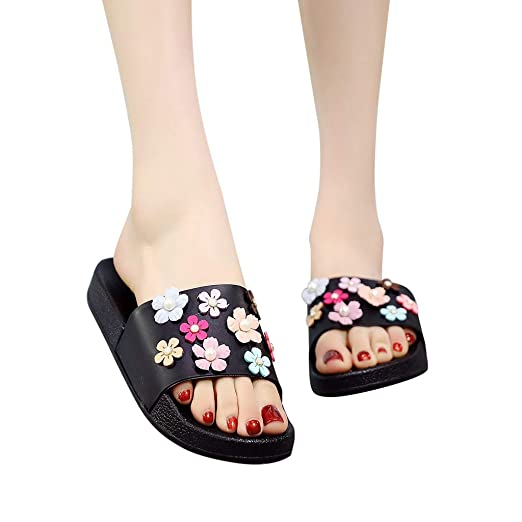 34fd6db49 TOTOD Women Casual Bow Summer Sandals Slipper Indoor Outdoor Flip-flops  Solid Beach Shoes (
