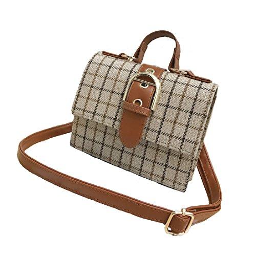WeeBizarre Women's Fashion Handbag Classic Plaid Cross Body Purse Bag Ladies Shoulder bag to Store Card Makeup Cell Phone Crossbody Bag (M, Khaki)