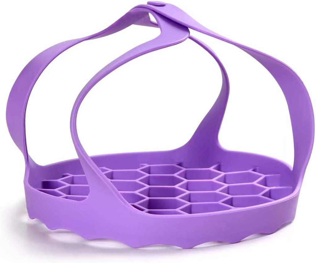 Pressure Cooker Sling - Silicone Bakeware Sling, Anti-scalding Steamer Rack Lifter Accessories Compatible with Instant Pot 6.5 Qt (Purple)