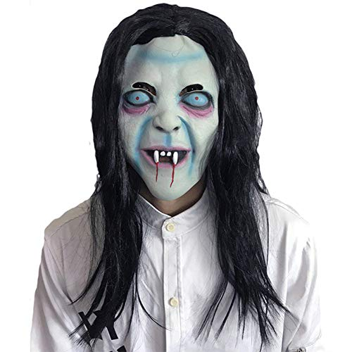 JIAAE Halloween Horror Witch Mask Long Hair Curse Ghost Half-Headgear Dance Party Scary Props