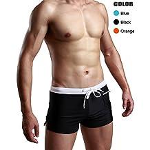 Swimsuit Men Swim Trunk Briefs Square Leg Cut Swimwear Boardshort Beach Short Surfwear with Pocket
