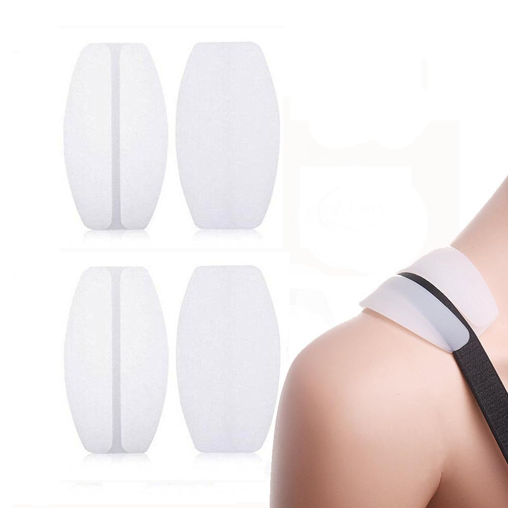 Silicone Bra Strap Cushions Soft Holder Non-slip Shoulder Protectors Pads 2 Pairs … (White)