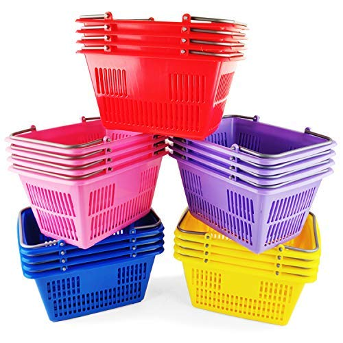 Boley 20 Pack Classroom Baskets - Durable Plastic Baskets with Handles - Assorted Colors - Back to School Set Perfect for Storing Pencils, Pens, Crayons, and Other Supplies! -