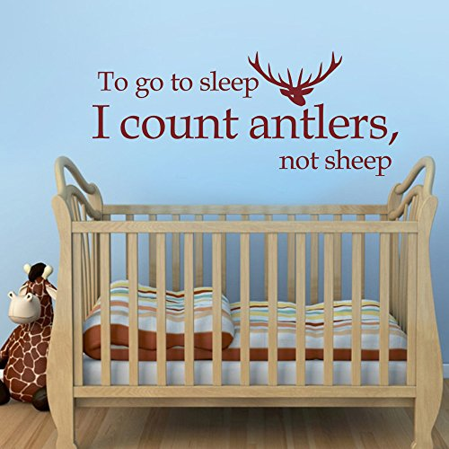 MairGwall Nursery Decal- To Go To Sleep I Count Antlers Not Sheep - Deer Decor Hunter Sticker Kids Room Decal(White, - Time International Usps First Class Shipping