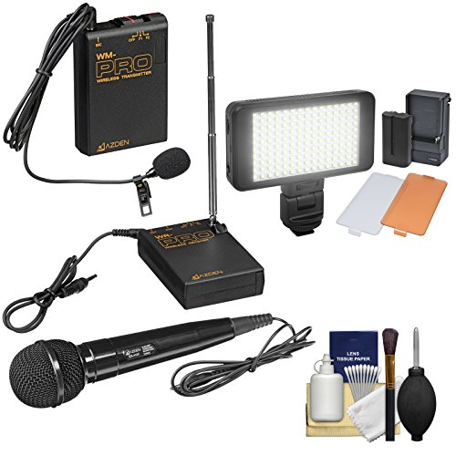 (Azden WMS-PRO Wireless Microphone System (Handheld & Lavalier) with LED Video Light + Cleaning Kit)