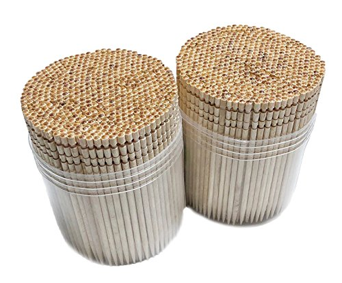(Makerstep Wooden Toothpicks 1000 Pieces Ornate Handle, Sturdy Cocktail Safe Large Round Storage Box 2 Packs of 500 Party Appetizer Olive Barbecue Fruit Teeth Cleaning Art Crafts)