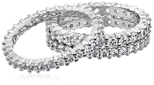 Sterling Silver Cubic Zirconia Eternity Band Stacking Rings (Set of 3), Size 6 by Amazon Collection (Image #4)