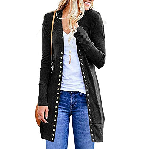 Open Loose Plus Button Sweater Drape Casual Front Tops Long Womens Fashion Cardigan Black Down DOLDOA Sleeve qO7Ttq