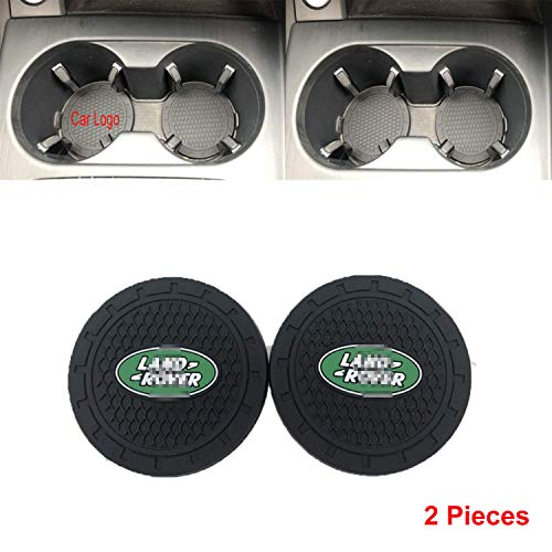 - Autosoda 2.75 Inch Diameter Oval Tough Car Logo Cup Coaster by High Grade Silicone Vehicle Travel Auto Cup Logo Heavy Duty Rubber Coaster 2 pcs Set (fit La-nd Ro-ver)