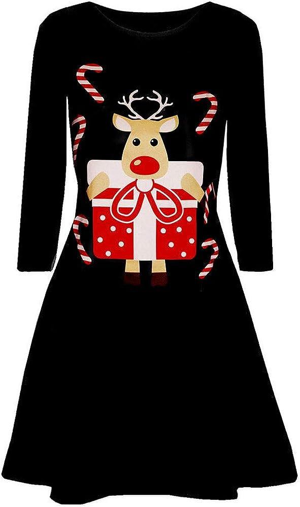 Lenfesh Camisa Larga Mujer con Manga Larga de Navidad Vestidos Cóctel Vestido Camisero Fiesta Christmas 2018: Amazon.es: Ropa y accesorios