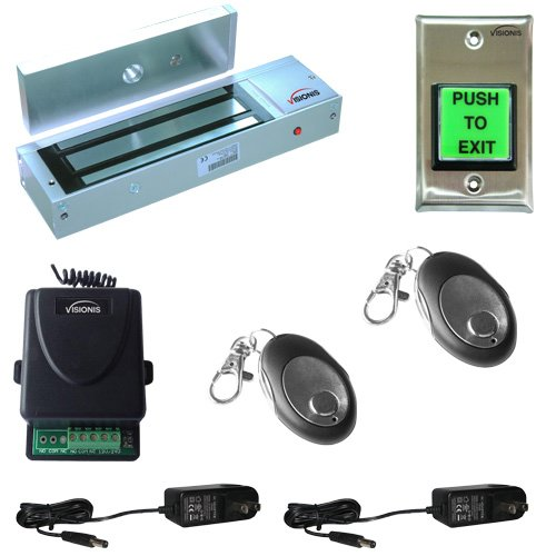 FPC-5018-VS One door Access Control Visionis outswinging door 1200lbs Electromagnetic lock kit with wireless receiver and remote kit ()