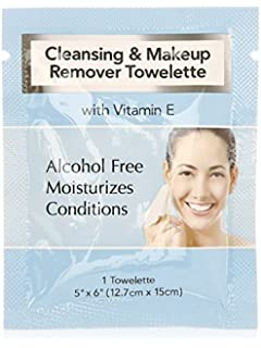 Cleansing and Makeup Remover Wipes with Vitamin E, 25 Pack (in Organza Bag)