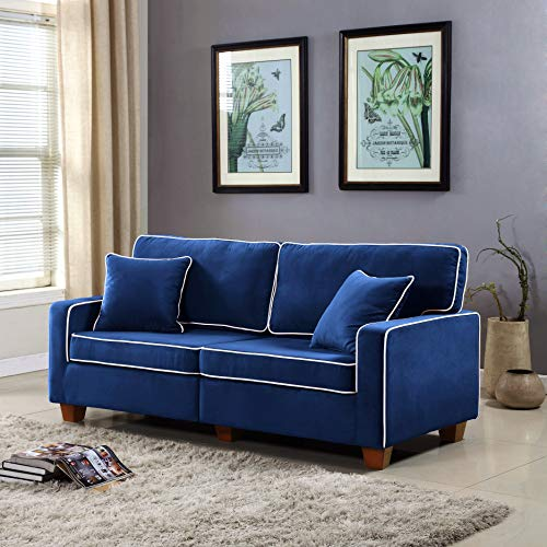 DIVANO ROMA FURNITURE Collection - Modern Two Tone Velvet Fabric Living Room Love Seat Sofa ()