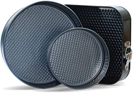Springform Pans by CiE. Set of 3 – Round and Square, 7-9-10 Inch Cheesecake pan removable bottom. Leak Resistant