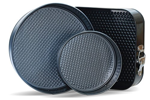 Springform Pans by CiE. Set of 3 - Round and Square, 7-9-10 Inch Cheesecake pan removable bottom. Leak Resistant