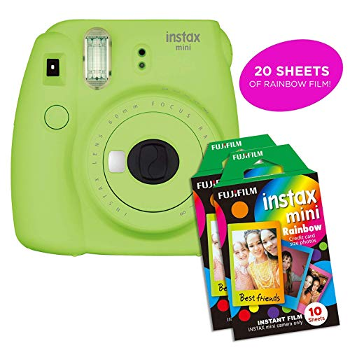 Fujifilm Instax Mini 9 Instant Camera Includes 2 Rainbow Film Packs (20 Photo Sheets Total) | Selfie Mirror, Auto Lens & Light Exposure Setting (Lime Green)