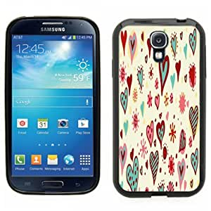 Samsung Galaxy S4 SIIII Black Rubber Silicone Case - Heart Design, I love you, craftsy and colorful