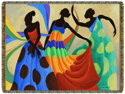 Dancers In Black Skin Tapestry Throw (Dance Tapestry Throw)