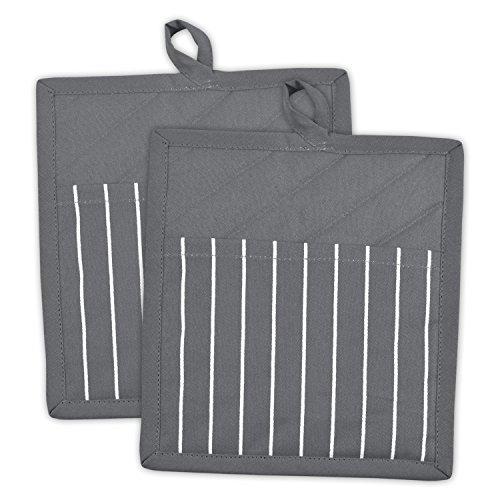 DII 100% Cotton, Machine Washable, Everyday Kitchen Basic, Chef Stripe Commercial Grade, Restaurant Quality Pot Holder Set of 2, Gray