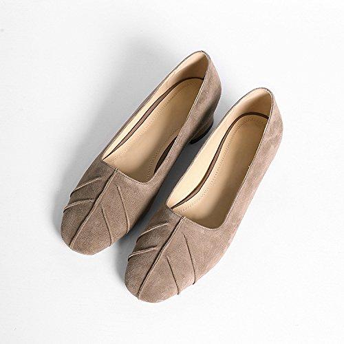 nouvelles ronde en cuir avec chaussures simples confortable 2017 chaussures peu tête lilas Printemps loisirs profonde une de bouche qXw75In
