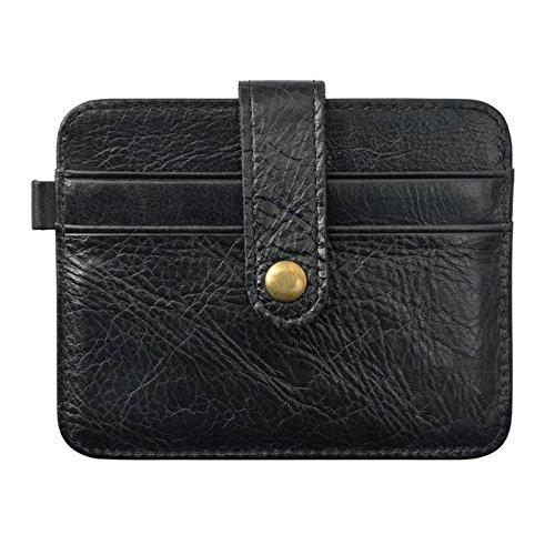 Mini Wallet-Han Shi Fashion Leather Credit Card Holder ID Case Button Purse Bag (S, Black)