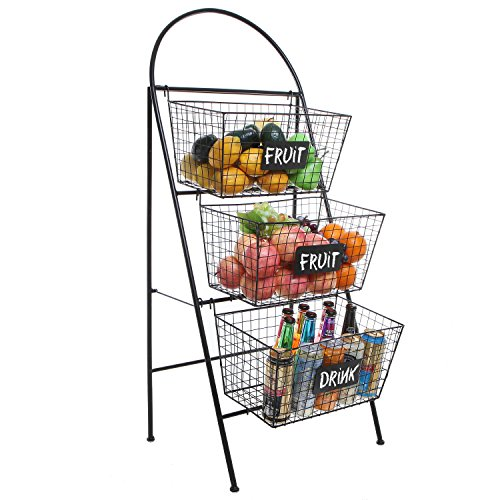 3 Tier Modern Black Metal Wire Mesh Basket Floor Rack Shelf Organizer Stand w/Chalkboard Labels