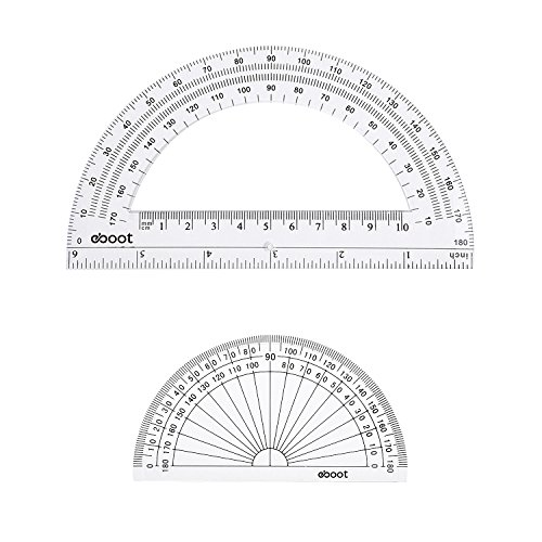 eBoot Plastic Protractor 180 Degree, 4 Inch and 6 Inch, Clear, 2 Pieces by eBoot (Image #1)