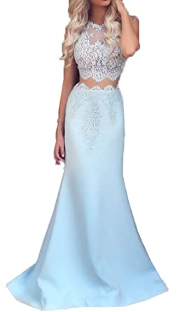 Blevla Lace Bodice Two Piece Mermaid Prom Dresses Formal Gowns Blue US 2