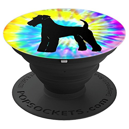 Airedale Terrier Dog Silhouette with Puppy Tie Dye Prints - PopSockets Grip and Stand for Phones and Tablets