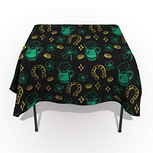 (ARTSHOWING St. Patrick's Day Rectangle Tablecloth Lucky Shamrock Gold Coins Beers Horseshoe Cotton Linen Table Cover for Kitchen Dinning Tabletop Decoration)