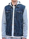 Allegra K Men Single Breasted Paneled Long Sleeves Denim Jacket w Removable Hood S Blue