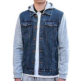 uxcell Men Removable Hood Single Breasted Long Sleeves Denim Hoodies Jacket