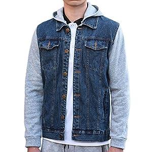 uxcell Men's Denim Hoodies Casual Button Down Jacket