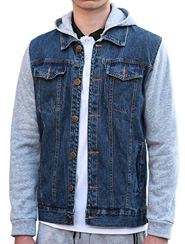 Sleeved Front Long (uxcell Men Button Front Long Sleeved Denim Jacket w Removable Hood L Blue)