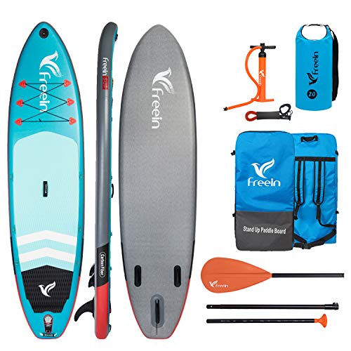"""- Freein Explorer Inflatable Stand Up Paddle Board Double Layer Light SUP 11' Long 33"""" Wide 6"""" Thick Aqua with Sport Camera Mount Package∣Adj Paddle, Backpack, Leash, Waterproof Bag,Pump"""