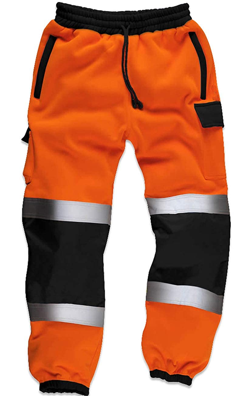 Qaswa Hi Viz Alta Visibilidad Hombres Pantalones de Trabajo Safety Fleece Worker Pantalones Fluorescentes Reflectantes